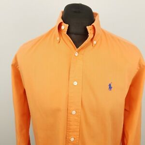 Ralph Lauren Mens Vintage Shirt Oxford MEDIUM Orange Classic Fit OVERSIZED