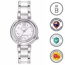 New Citizen Eco-Drive L Sunrise Ladies Watch Silver White 10 Diamonds EM0320-83A