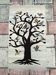 """Zapotec Oaxacan 23x39"""" Hand Woven Natural Gray Tree of Life Weaving Tapestry Rug"""