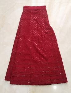 Asian Cotton Maroon Sharara Palazzo with Self Colour Lucknowi Chikan Embroidery