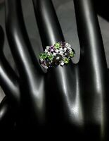 AAA NATURAL BLACK OPAL RHODOLITE CHROME DIOPSIDE CZ -STERLING 925 SILVER RING