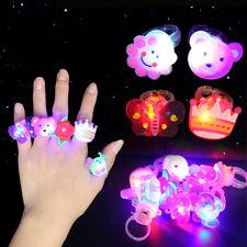 New 10pcs/lot Kids Child LED Light Up Flashing Finger Rings Glow Party Favors