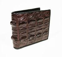 New Genuine Crocodile Alligator Leather Back Tail Skin Men Brown Bi-fold Wallet.