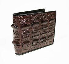 Real Brown Back Tail Crocodile Leather Skin Mens Bi-fold Wallet.