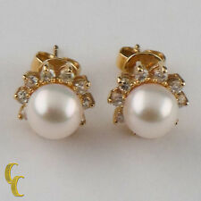 14K Yellow Gold Pearl and Diamond Stud Earrings TDW = .50 ct / H / VS 7 mm Pearl