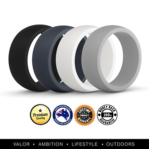 🔥 VALO Active Mens 4 Pack Silicone Wedding Rings | Safe Work Sport Gym Bands