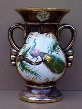 Vase H BEQUET QUAREGNON BELGIUM PAON céramique déco CASTEL OR