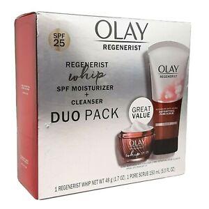 Olay Regenerist Whip Duo Pack 5.0 fl oz SPF 25 Moisturizer Face Cleanser 1.7 oz