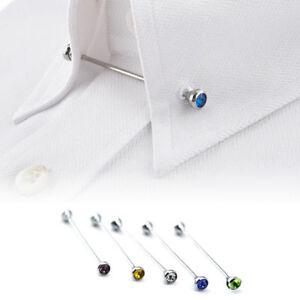 Mens Collar Bar Crystal Neck Tie Shirt Pin Screw Steel Brooch 6cm Clasp Lapel UK