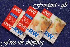 3x 8CM (3 INCH) JVC RE-WRITABLE MINI DVD VIDEO CAMCORDER DISC - 30 MINUTE DVD-RW