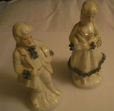2 Vintage Blue, gold and White Colonial Victorian Porcelain Figurines