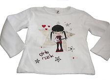 C & A tolles Langarmshirt Gr. 116 weiß mit Girls Rock Motiv !!