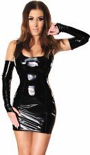 Ledapol 1460 Lack Kleid Trägerkleid Minikleid ohne Armstulpen,  XXL-50 SCHWARZ