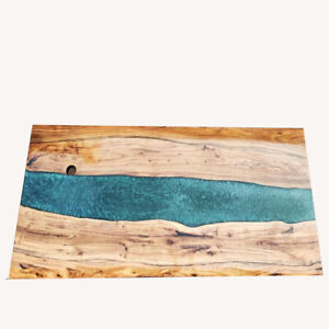 Made TO Order Epoxy Walnut Wooden Sofa Center Din Table Deep Sea River Decorate