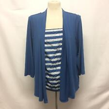 Bob Mackie Womens L Blue Long Sleeve Cardigan Tank Top Twin Set Sequin Stretch