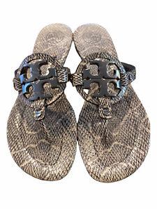 9 M Tory Burch Women's Miller Snakeskin Leather Thong Sandals Gun Metal Logo