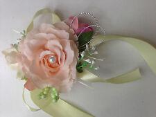Flor De Camelia con Cinta Novia Pulsera Flor/Boutonniere Corsage de dama de honor