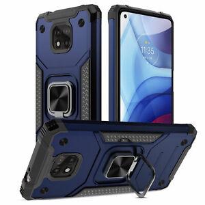 For Motorola Moto G Stylus 5G/Stylus 2021 Case Ring Holder Cover/Tempered Glass