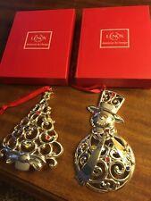 Lenox Metal Christmas Tree Snowman Ornament Lot 2 Silver Color W/ Rhinestones