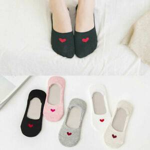 5 Pairs Women Love Heart Invisible Trainer Liner Socks No Show Footsies Non-slip