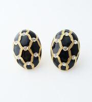 Vintage Faberge Egg Style Enamel Rhinestone Earrings…Gold Tone Clip On Statement