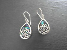 """Balinese 925 Sterling Silver """"Lotus"""" earrings inlayed with Paua Abalone shell"""