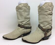 WOMENS ZODIAC TOE AND HEEL RAND HARNESS COWBOY LEATHER IVORY BOOTS SIZE 7 M