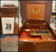 Regina Antique Music Box Mahogany Serpentine Double Comb 15 VIDEO 6 Discs Sousa