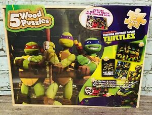 New Nickelodeon Teenage Mutant Ninja Turtles 5 Wood Puzzle Pack With Storage