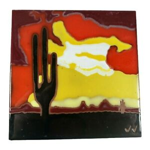 """Hand Crafted Ceramic Art Tile Southwest Saguaro Cactus Sunset Made in Italy 6"""""""