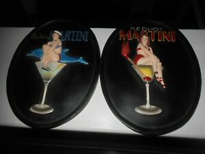 """Pair Of Heavy Plastic Bar Plaques 8"""" x 6"""" Ready To Hang Pre-Owned Free Shipping"""