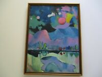 23 INCH GERALD ROWLES PAINTING EXPRESSIONIST ABSTRACT MODERNIST LANDSCAPE CUBISM
