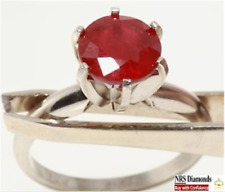 1.20ct Genuine Natural Ruby Solitaire Solid 14K 14KT White Gold Ring