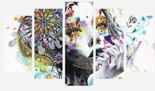 """Abstract Women Girl Flower Painting Art 5 Split Panel Canvas Pictures 28x40"""""""