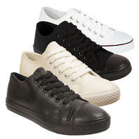 Womens Ladies Girl Trainers Faux Leather School Casual Sneakers Pumps Shoes Size