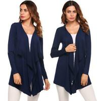 Women Casual Long Sleeve Asymmetrical Solid Open Front Cardigan B98B 10