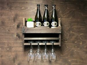 Personalised Rustic Wine Rack Bottle 4 Glass Holder Home Garden Bar Wood (4DO)EM