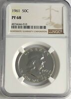 1961 P NGC PF68 PROOF BEN FRANKLIN HALF DOLLAR 50c 90% SILVER WHITE COINS