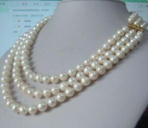 """Charming 3 row natural 8-9 mm australia south sea white pearl necklace 18""""19""""20"""""""