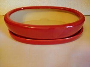 """Lovely Bonsai Pot & Saucer 9"""" long NEW, Red"""