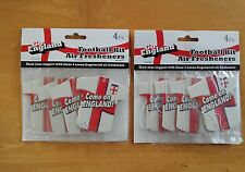 2 X PACK OF 4 ENGLAND FOOTBALL WORLD CUP 2018 FLAG CAR AIR FRESHENERS..