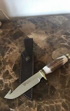 "Hen & Rooster HR-4802 Stag Guthook Skinner Bowie 9.875"" Blade Hunter Knife W/SH"