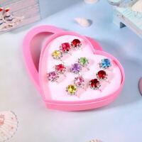 12 Pcs Kids Rings Fashion Charming Diamond Rings Child Rings for Teens Toddlers