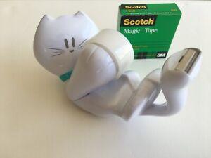 Scotch 3M White Kitty Cat Tape Dispenser Office Desk