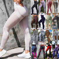 Womens Yoga Pants High Waist Leggings Pockets Seamless Sport Gym Fitness Stretch