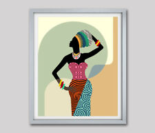 Black Woman Art Print Tribal Abstract African American Painting Home Decor 8x10