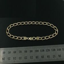 Brand New 9ct yellow gold Handmade 4 cut open curb link bracelet