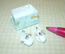 Miniatures Doll's Cobbler Infant Christening Shoes w/Silk Bows: DOLLHOUSE 1/12