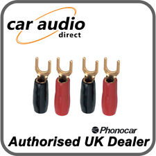 Phonocar 4/216 8 Gauge 6.5mm AWG Gold Plated Fork Terminals Red Black 4 Pieces