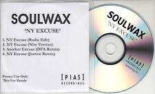SOULWAX NY Excuse 2005 UK 4-track promo test CD DFA & Justice Remixes